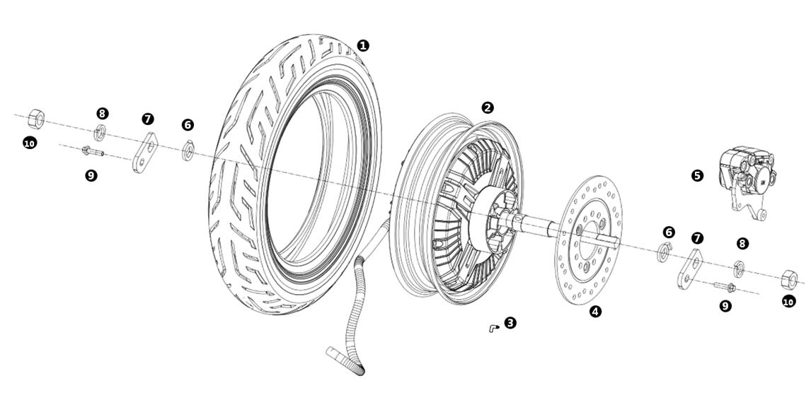 Bakhjul - Motor - Bakbroms